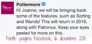 Test per Smistamento, Bacchetta e Patronus in Pottermore rinviati al 2016