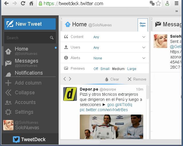 TweetDeck - Solo Nuevas