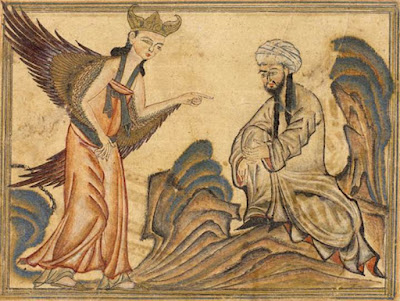 PUES QUE MAHOMA NO EXISTIÓ! - Página 3 Mohammed_receiving_revelation_from_the_angel_Gabriel
