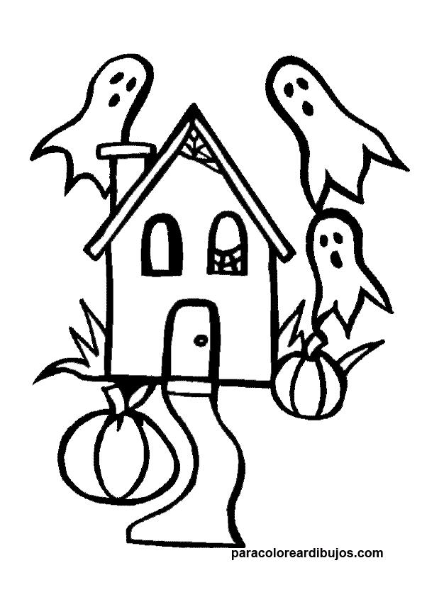 Colorear casa encantada de halloween