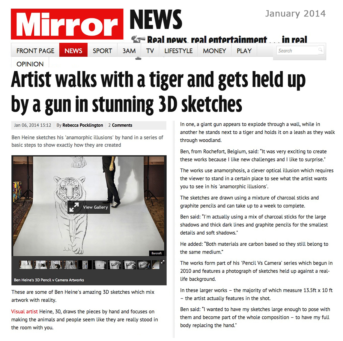 Ben Heine Art - News Article in Daily Mirror - UK (January 2014)