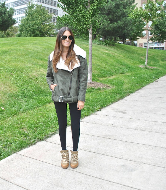 Jacket: Faux Sherpa Coat- Somedays Lovin // Sunglasses: Ray Ban Aviators // Shoes: Isabel Marant Nowles Bootie  // Leggings: Soft Joie Leggings //