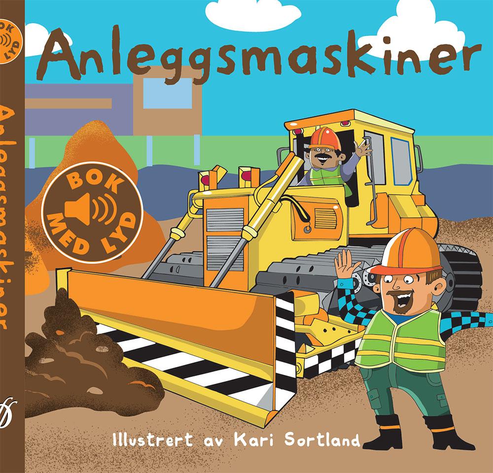 Anleggsmaskiner, Kari Sortland barnebok, illustrasjon, illustratør