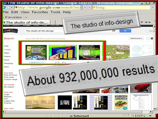 Web page of The studio of info-design is located in the first three places in the search engine