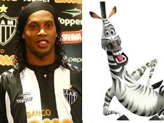 Ronaldinho Gaúcho e Marty, de Madagascar, parecem feitos um para o outro