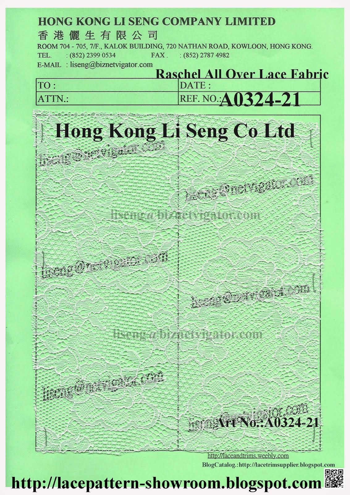 "Raschel All Over Lace Fabric Wholesaler and Supplier "" Hong Kong Li Seng Co Ltd """