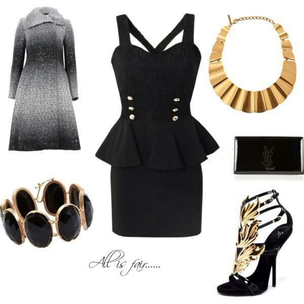 Stylish dress, necklace, purse and high heels for ladies
