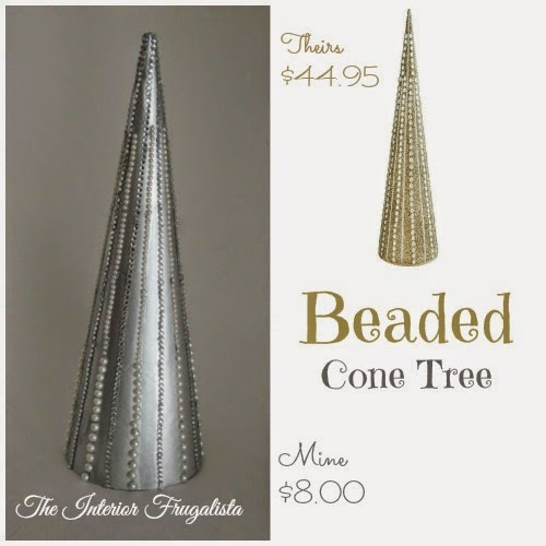 Pier 1 inspired beaded Christmas cone tree