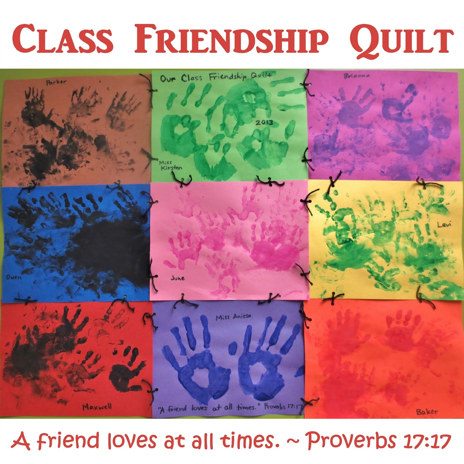 Princesses pies preschool pizzazz class friendship quilt for Friendship crafts for 2 year olds