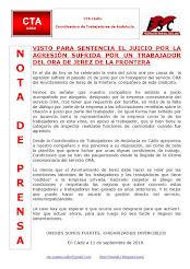 VISTO PARA SENTENCIA EL JUICIO POR LA AGRESIÓN SUFRIDA POR UN TRABAJADOR DEL ORA DE JEREZ DE LA FRO