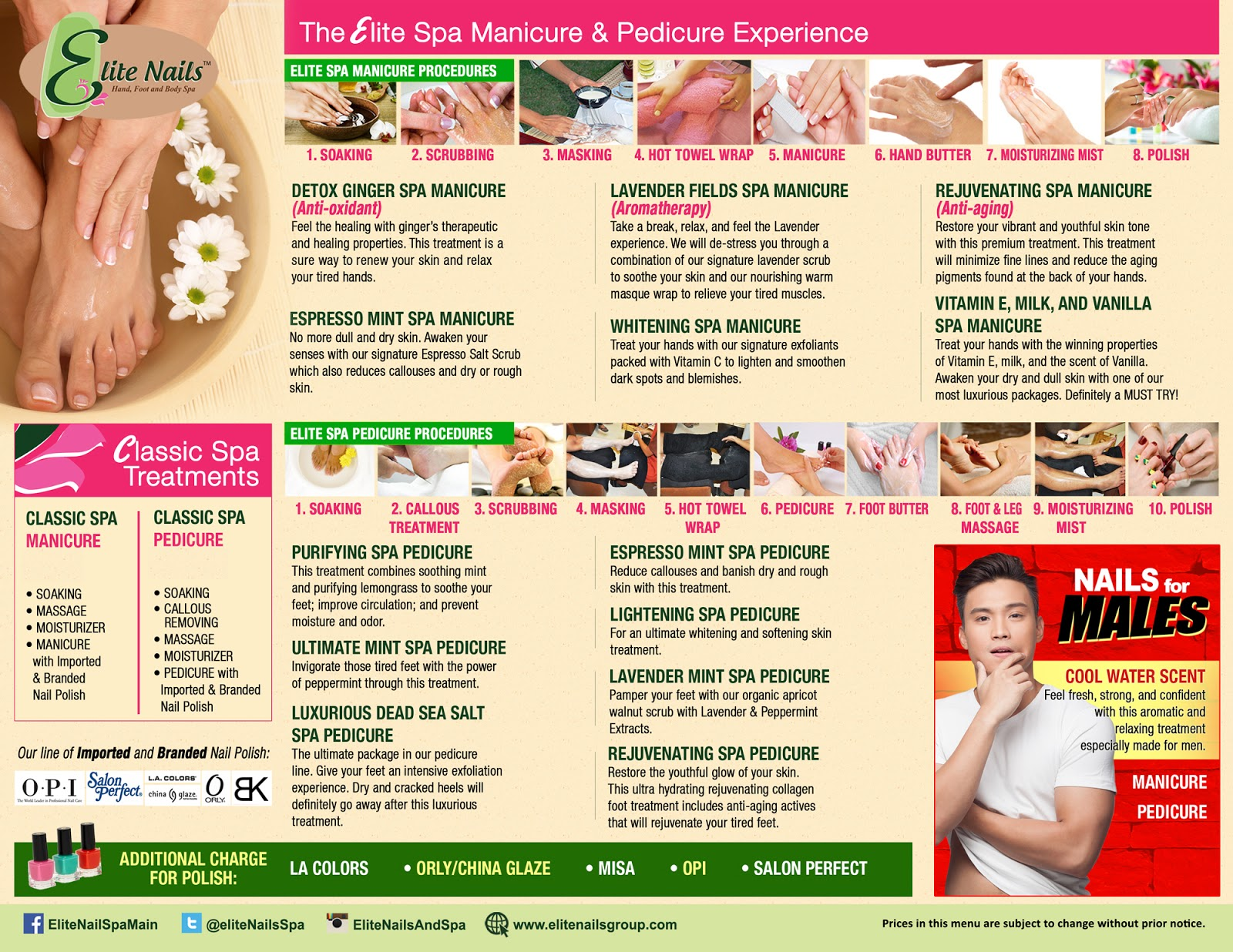 Elite Nails Hand, Foot and Body Spa: Spa Menu / Services