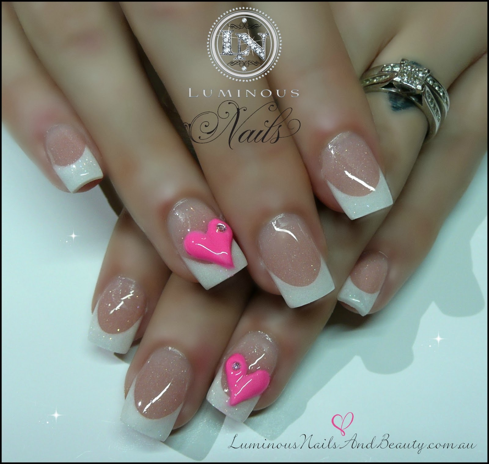 The Glamorous Pink nail designs with silver glitter Images