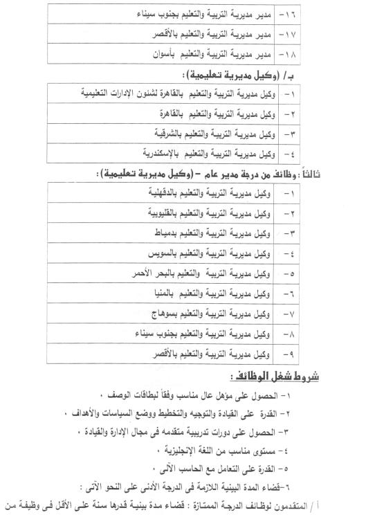 وظائف خالية في وزارة التربية والتعليم جميع المحافظات الاعلان رقم 3 سنة 2014 2