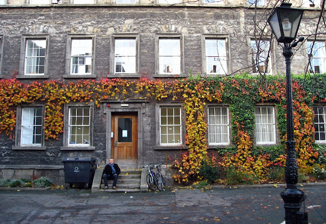 Lovely old building covered in vines at Trinity College, Dublin, Ireland