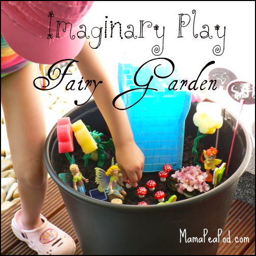 imaginary play making fairy garden castle