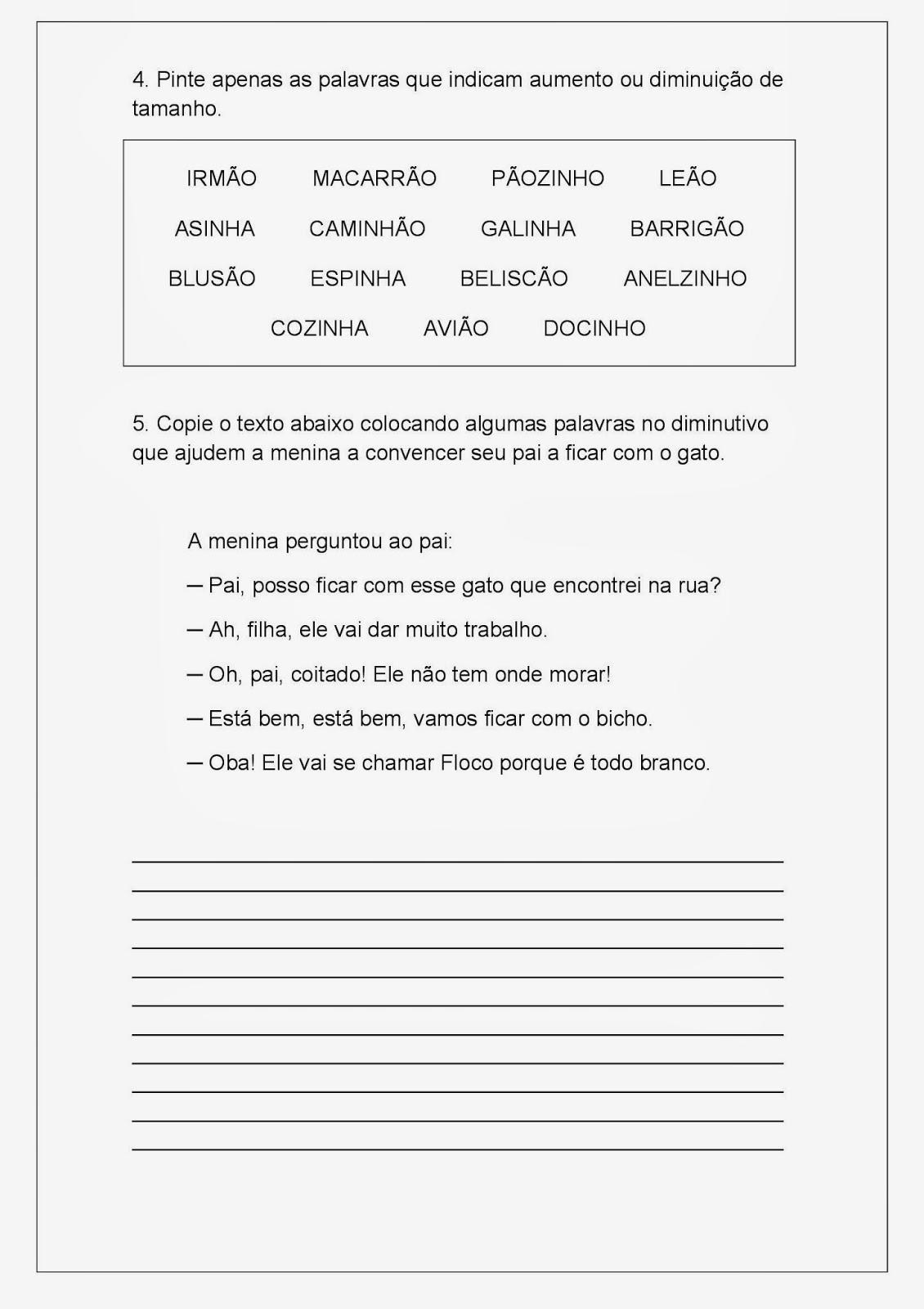 Atividade de Português - Aumentativo e Diminutivo - Parte 2