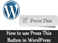 Using Press this button in wordpress