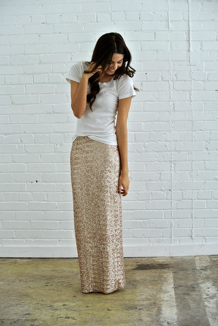 Bold sequin gold blush pink maxi skirt | Follow Mode-sty for stylish modest clothing #nolayering tznius orthodox jewish muslim hijab mormon lds pentecostal islamic evangelical christian