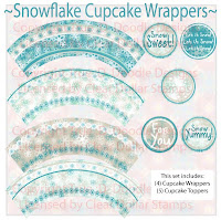 Snowflake Cupcake Wrappers Digi Set