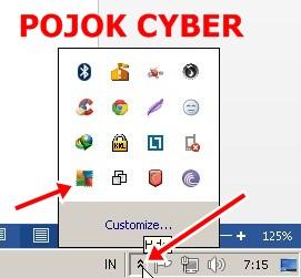 1 - Klik tanda panah di pojok kanan bawah sampai muncuk icon-icon aplikasi termasuk AVG