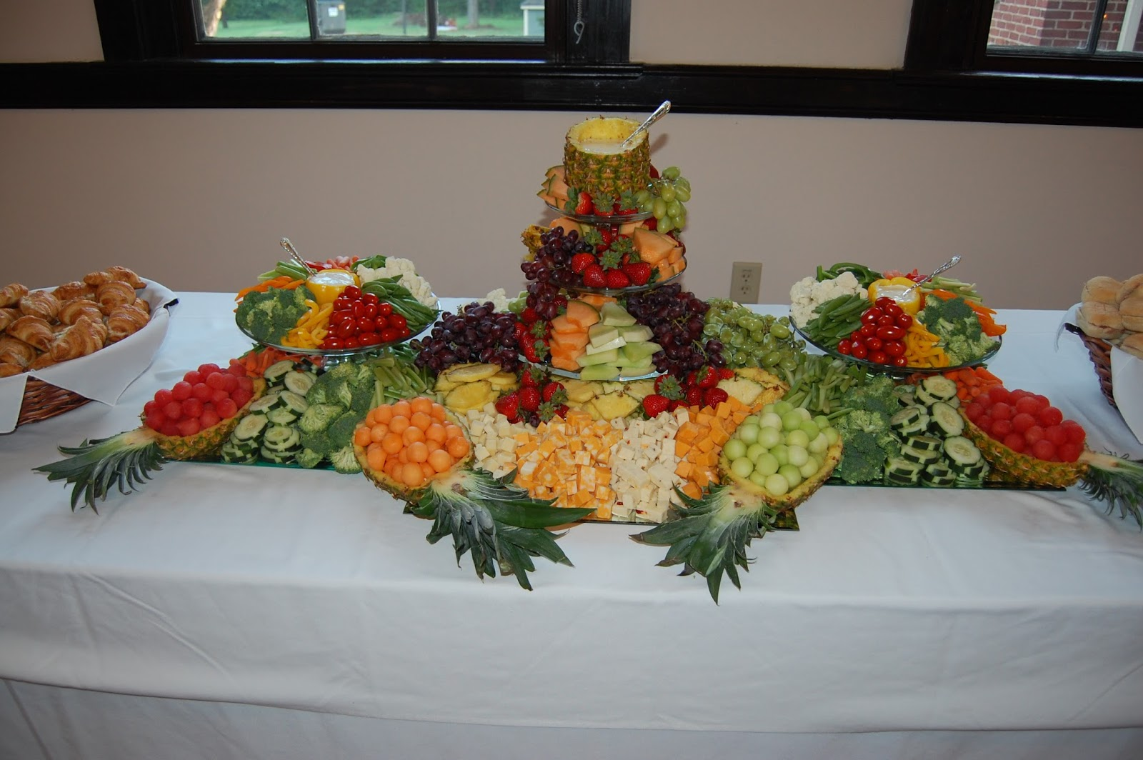 cook create consume fruit vegetable cheese platter centerpiece