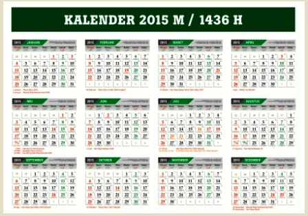 Download Kalender 2015 Masehi - 1436 Hijriyah File CorelDraw