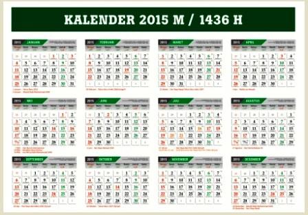 Download Kalender 2015 Masehi - 1436 Hijriyah File CorelDraw