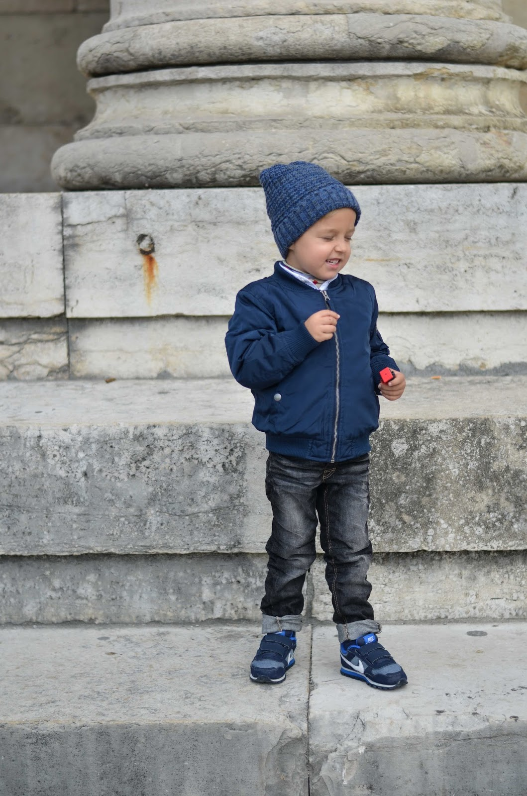 boy toddler fall style bomber jacket beanie sneakers jeans