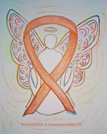 Gold Awareness Ribbon Guardian Angel Art Original Painting