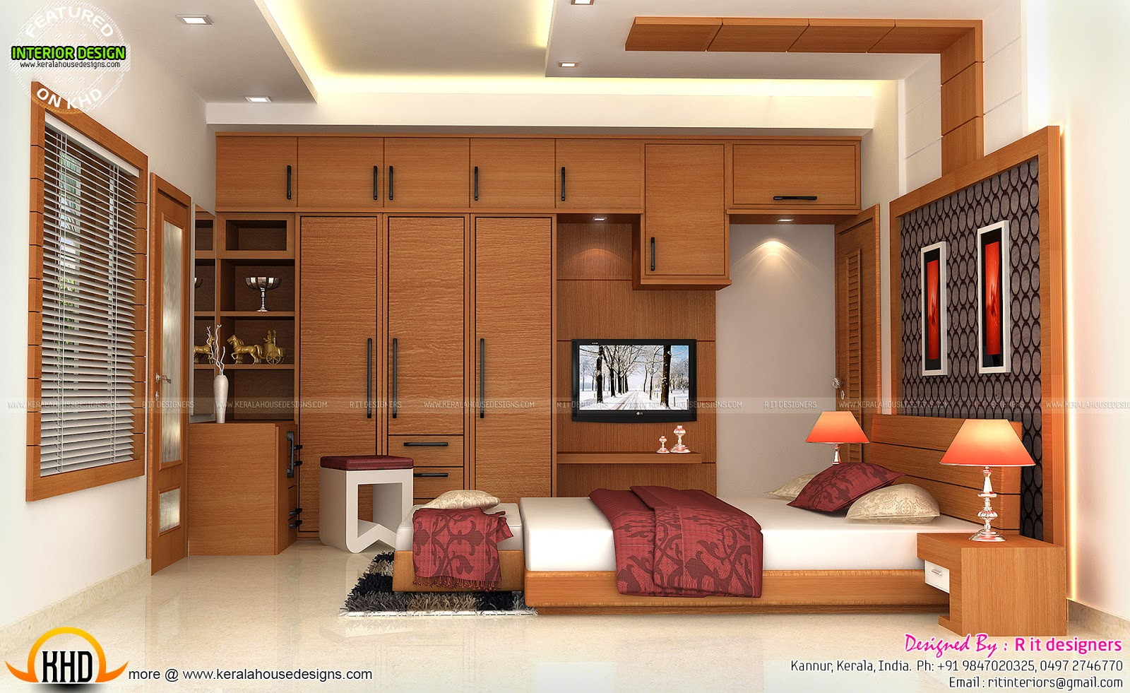 Interiors of bedrooms and kitchen kerala home design and for Kitchen and bedroom designs