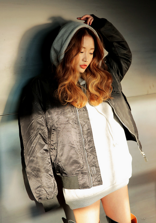 Duck and Down Feather Fill Bomber Jacket