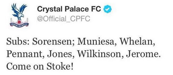 Crystal Palace tweets support for opponents Stoke
