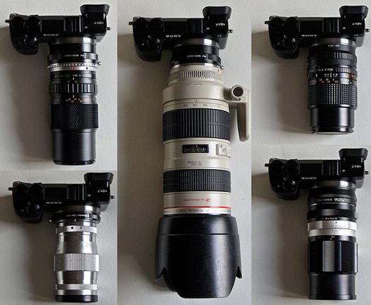 sony nex-7 135mm minolta canon eos ltm olympus konica