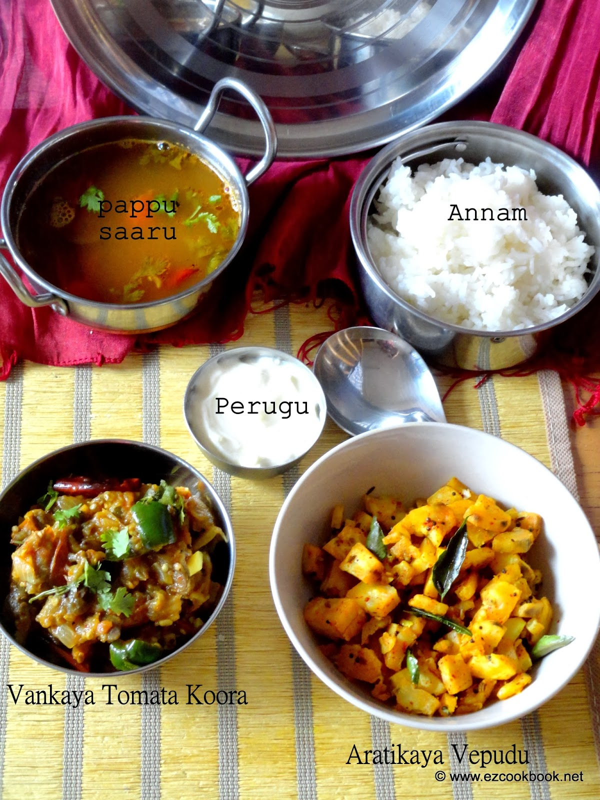 Simple home style telugu lunch menu vegetarian meal ezcookbook also helps in fuss free cooking this simple vegetarian lunch is pretty common at my home during weekends though we try many exotic recipes outside forumfinder Images