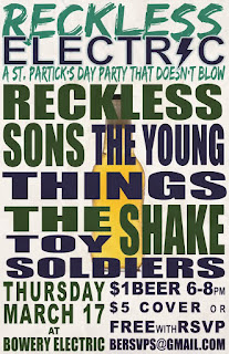 Reckless Sons Play St. Patrick's Day Show at Bowery Electric (w/ Cheap Beer)