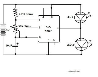 electronix the alternating led flasher circuit with a 555 ic rh exlectronix blogspot com Alternating LED Flasher Circuit LED Flasher Schematic