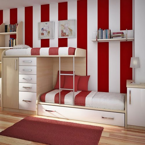 give a tired workspace some life with red and white striped curtains it instantly amplifies the plain space and becomes a place where the eye is