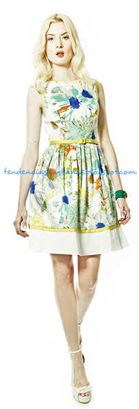 vestido corto estampado floral Janet Wise verano 2014