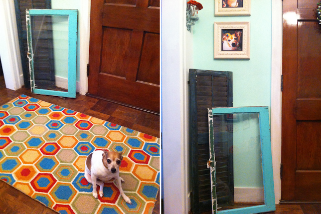 Cottage Home: Use an old window and vintage shutter as decor and welcome guests with a colorful rug on BinkysNest.com