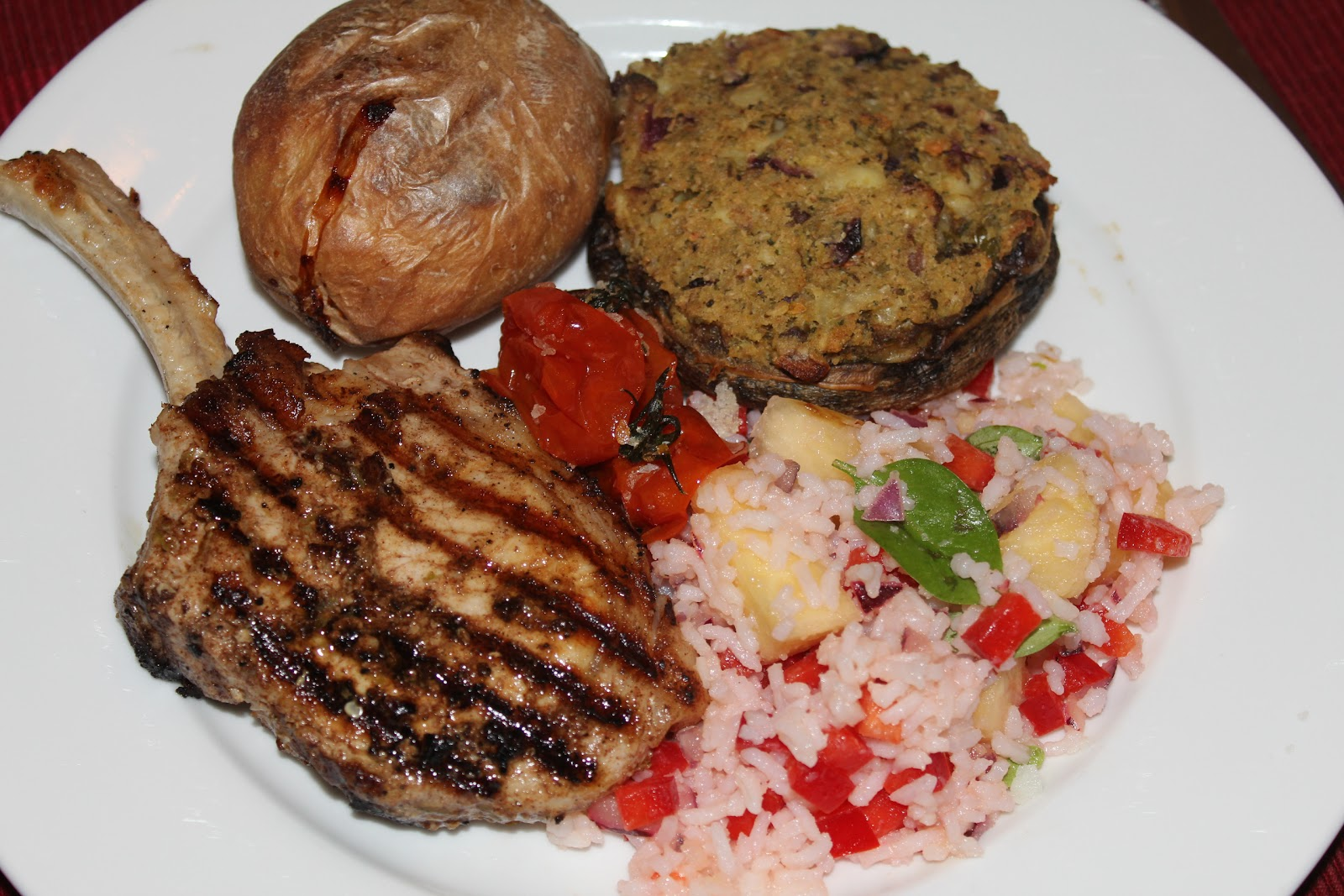 Caribbean Style Pork Cutlets with Rice Salad - A Dash Of Flavour ...