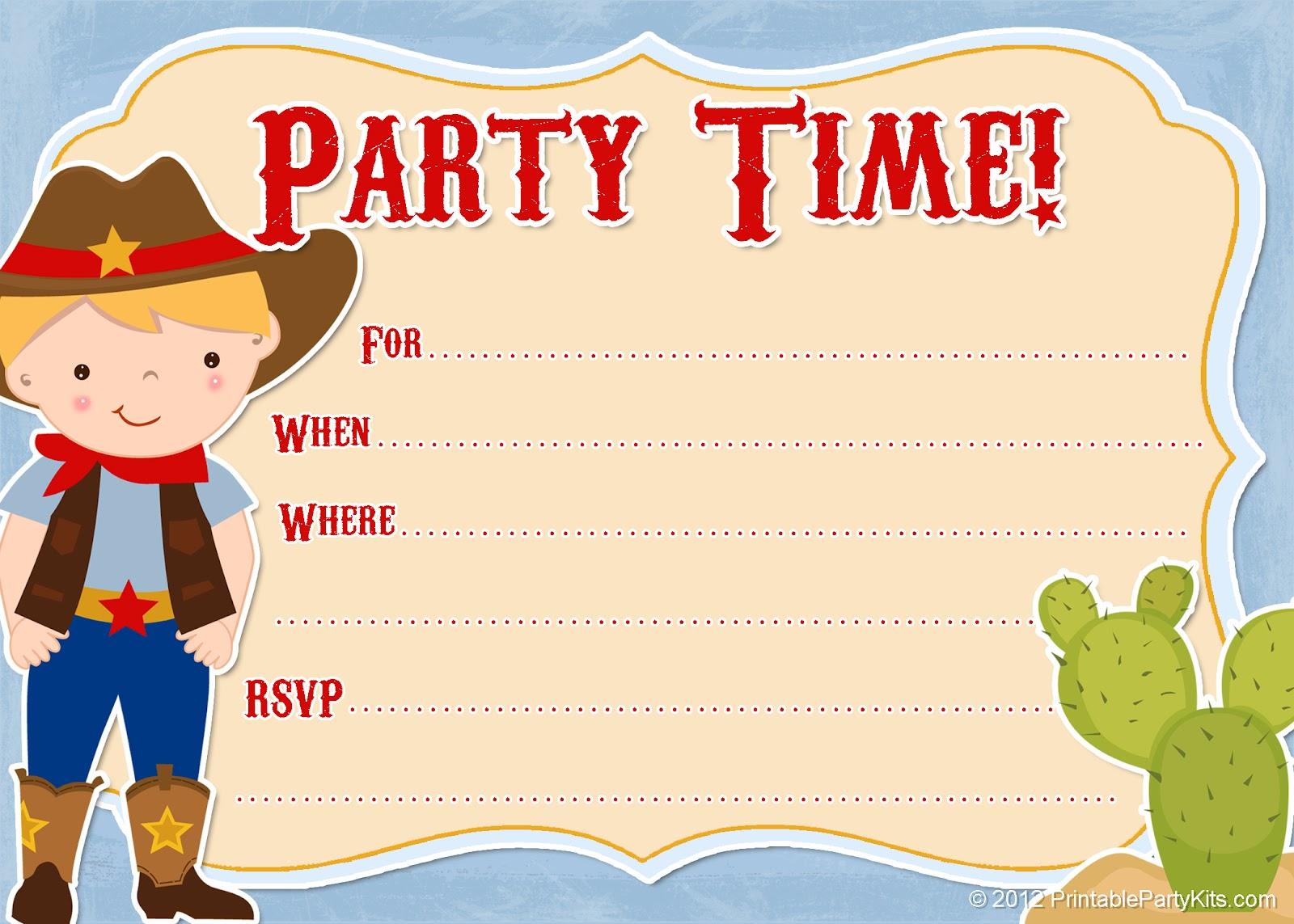 Free Printable Party Invitations: Free Printable Cowboy Invites