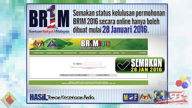 BR1M 2016 : Semakan Status Kelulusan Permohonan