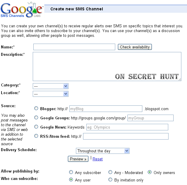 google sms channel3 How to Create Google Labs SMS Channels