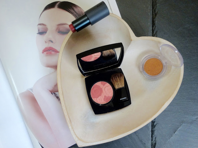 Chanel Jardin de Chanel blusher, Rosewood Butter Cream Bite Beauty Lipstick, Bronze Bliss Colour Crush eyeshadow The Body Shop
