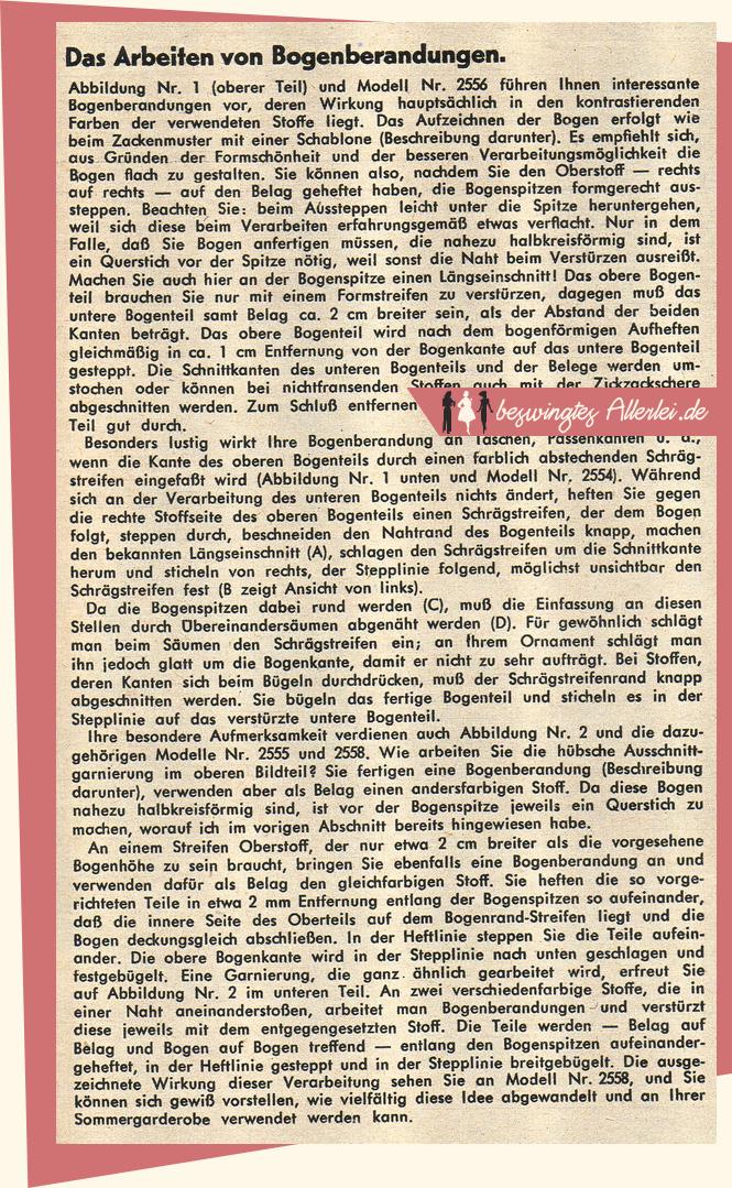 50er Jahre, Spitzenrand, Bogenrand, Bogenspitzen