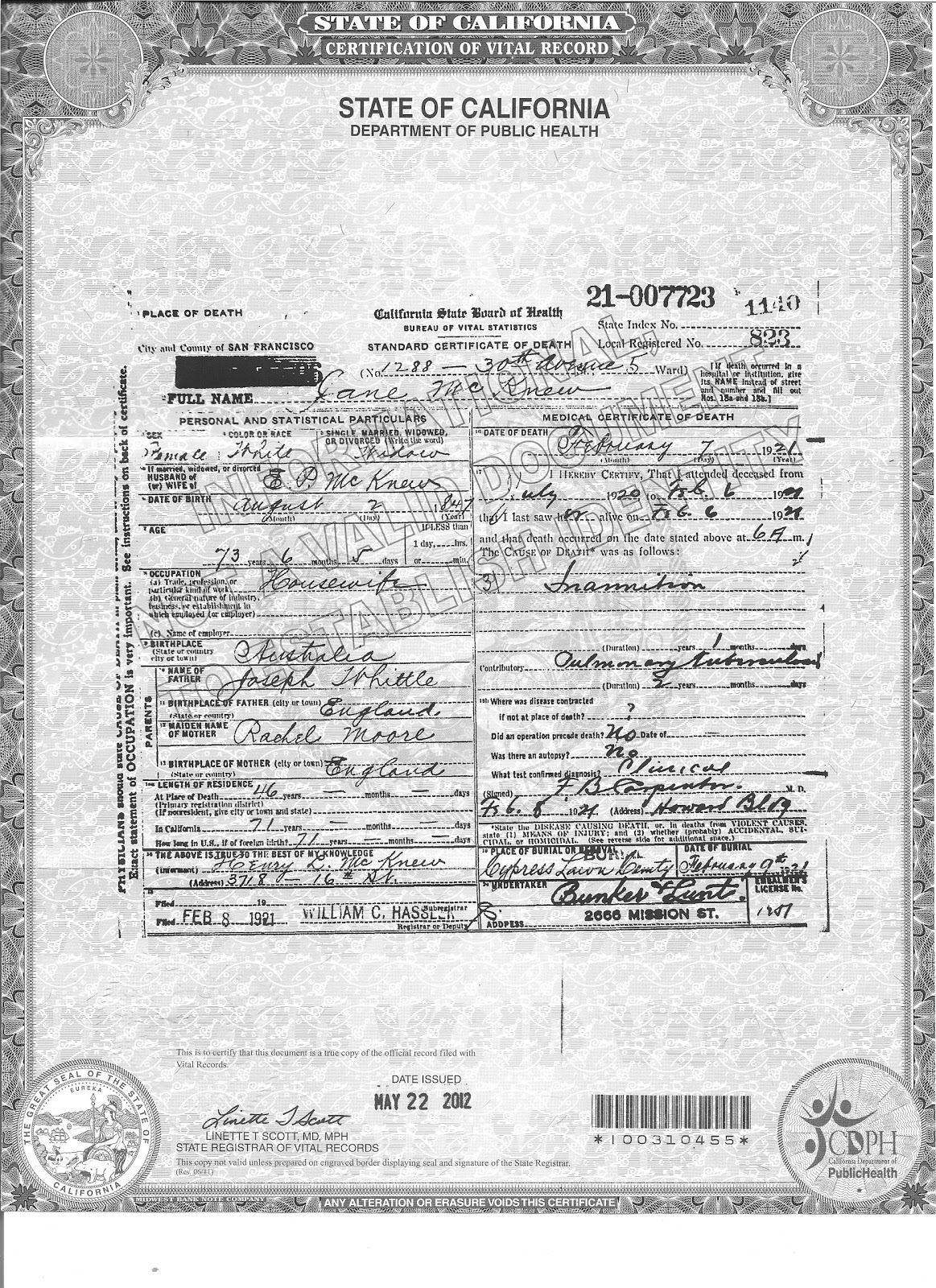 Genea musings 052712 treasure chest thursday jane whittle mcknews death certificate aiddatafo Images