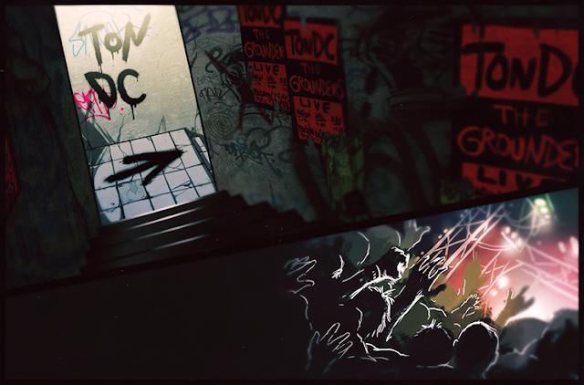 """Na fanart: Uma imagem de quadrinho dividida ao meio. Na imagem de cima é a escadaria descendo que leva a uma boate, as paredes ao lado da escada escuras todas pichadas e com pôsters laranjas anunciando a banda """"The Grounders"""" com as palavras """"TondDC Live"""". No fim da escadaria uma seta preta pichada no chão indicando a direita, na parede pichado do mesmo jeito escrito """"TonDC"""". Na imagem de baixo mãos esticadas para o alto com um palco iluminado ao fundo."""