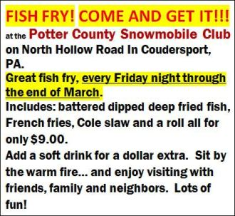 3-24 Fish Fry @ Snowmobile Club, North Hollow
