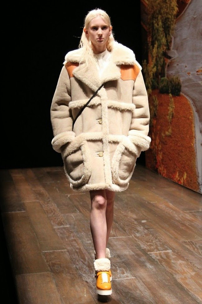 Coach 2014 AW by Stuart Vevers Beige Shearling Coat on Runway