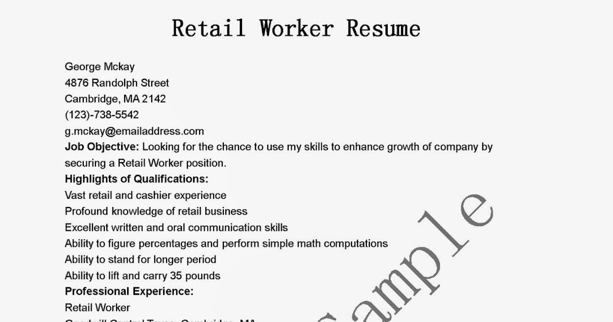 resume samples  retail worker resume sample